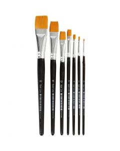 Gold Line Brushes, flat, no. 0-20, W: 2-24 mm, 7 pc/ 1 pack