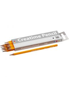 School Pencils, L: 17,5 cm, hardness HB, thickness 7 mm, lead 2 mm, 12 pc/ 1 pack