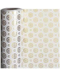 Gift wrap, tiles, W: 50 cm, 80 g, gold, white, 100 m/ 1 roll
