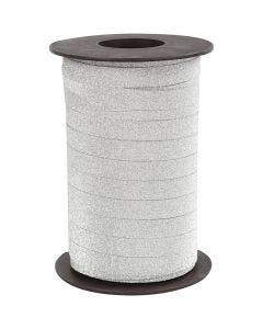 Curling Ribbon, W: 10 mm, glitter, silver, 100 m/ 1 pack
