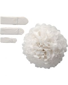 Tissue Pompons, D: 20+24+30 cm, 16 g, white, 3 pc/ 1 pack