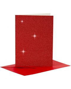 Cards and Envelopes, card size 10,5x15 cm, envelope size 11,5x16,5 cm, glitter, 110+250 g, red, 4 set/ 1 pack