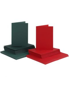 Cards and Envelopes, card size 10,5x15 cm, envelope size 11,5x16,5 cm, 110+230 g, green, red, 50 set/ 1 pack