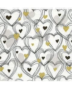 Table Napkins, Hearts, size 33x33 cm, 20 pc/ 1 pack