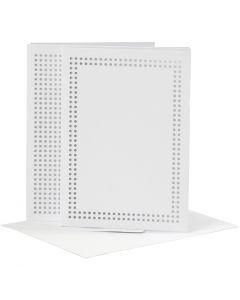 Card for embroidery, card size 10,5x15 cm, envelope size 11,5x16,5 cm, white, 6 pc/ 1 pack