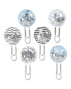 Shaker clips, L: 49 mm, D: 25 mm, black, blue, grey, white, 6 pc/ 1 pack