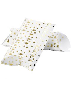 Pillow box, christmas tree with deer, size 23,9x15x6 cm, 300 g, gold, white, 3 pc/ 1 pack