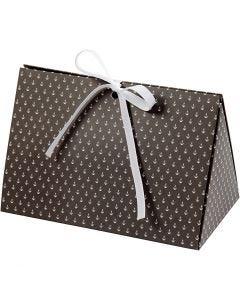 Folding gift box, anchor, size 15x7x8 cm, 250 g, dark grey, white, 3 pc/ 1 pack
