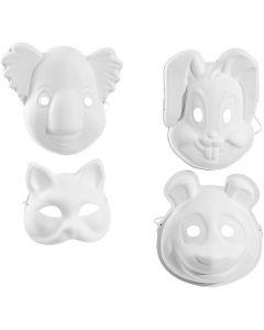Masks, H: 17-25 cm, W: 18-24 cm, white, 4x3 pc/ 1 pack