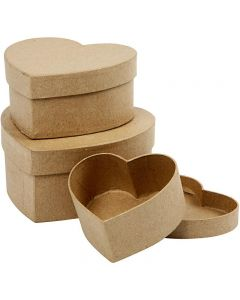 Heart Boxes, H: 5+6,5+7,5 cm, D: 10+12,5+15 cm, 3 pc/ 1 set
