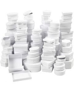 Boxes, D: 5,5-16 cm, white, 168 asstd./ 1 box