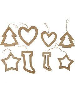 Christmas Ornaments, H: 9+12 cm, 24 pc/ 1 pack