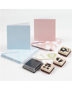 Baby Card Set, light blue, light red, 1 set