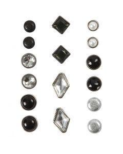 Deco Rivets, size 8-18 mm, black, 16 pc/ 1 pack