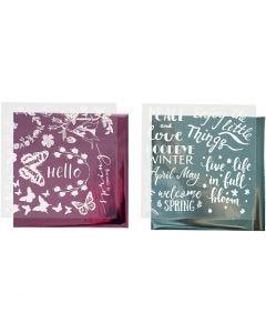 Deco Foil and transfer sheet, spring, 15x15 cm, light blue, pink, 2x2 sheet/ 1 pack