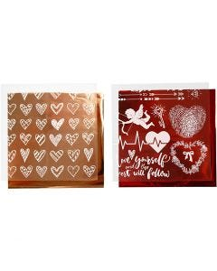 Deco Foil and transfer sheet, hearts and love, 15x15 cm, red, 2x2 sheet/ 1 pack