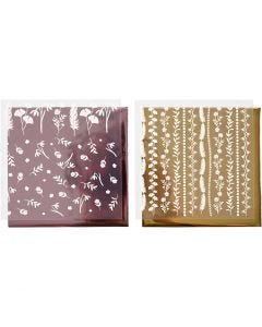Deco Foil and transfer sheet, 15x15 cm, 2x2 sheet/ 1 pack