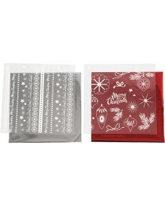 Deco Foil and transfer sheet, Magical Christmas, 15x15 cm, red, silver, 2x2 sheet/ 1 pack