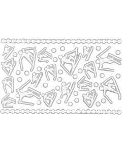 Foam Stickers, skiers, 9x14 cm, size 5-30 mm, white, 1 sheet