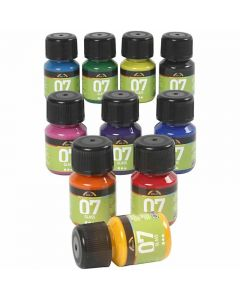 A-Color Glass Paint, assorted colours, 10x30 ml/ 1 pack