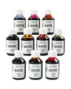 Batik dye, assorted colours, 10x100 ml/ 1 pack