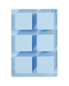 Silicone mould, H: 2,5 cm, L: 21,5 cm, W: 14,5 cm, hole size 5 x 5  cm, 60 ml, 1 pc