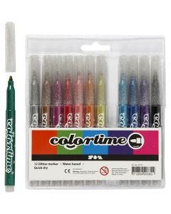 Colortime Glitter Marker, line 4,2 mm, assorted colours, 12 pc/ 1 pack