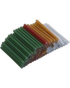 Glue Gun Sticks, L: 10 cm, D: 7 mm, glitter, gold, green, red, silver, 100 pc/ 1 pack