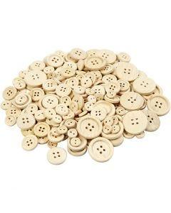 Wooden Buttons, D: 8+11+15+18+23 mm, 440 pc/ 1 pack
