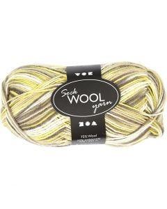 Sock Yarn, L: 200 m, green, yellow, 50 g/ 1 ball