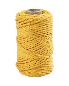 Macramé cord, L: 55 m, D: 4 mm, yellow, 330 g/ 1 roll