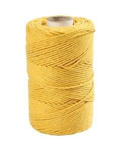 Macramé cord, L: 198 m, D: 2 mm, yellow, 330 g/ 1 roll