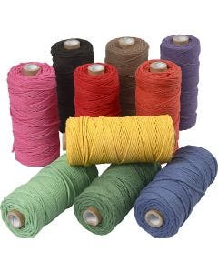 Cotton Twine, L: 100 m, thickness 2 mm, Thick quality 12/36, bold colours, 10x225 g/ 1 pack