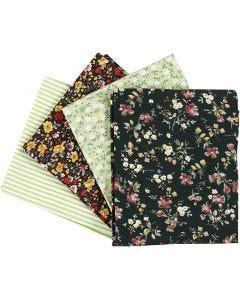 Patchwork fabric, size 45x55 cm, 100 g, green, 4 pc/ 1 bundle