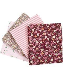 Patchwork fabric, size 45x55 cm, 100 g, rose, 4 pc/ 1 bundle