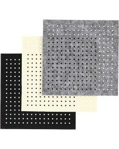 Craft Felt with Holes, thickness 3 mm, black, grey, off-white, 3x4 sheet/ 1 pack