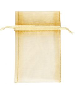 Organza Bags, size 7x10 cm, gold, 10 pc/ 1 pack