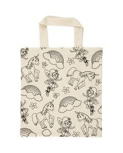 Shopping Bag, unicorn, size 27,5x30 cm, 135 g, light natural, 1 pc
