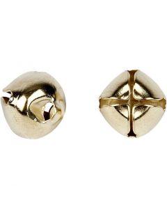 Bells, D: 8+10+13 mm, gold, 18 asstd./ 1 pack