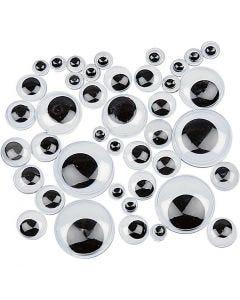 Googly Eyes, self-adhesive, D: 4-20 mm, 1100 asstd./ 1 pack