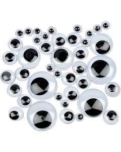 Googly Eyes, not sticky, D: 4-20 mm, 1100 asstd./ 1 pack