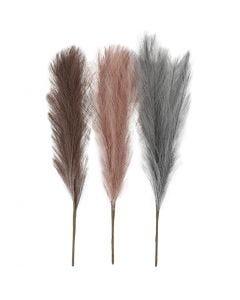 Pampas grass, L: 50 cm, dusty blue, frosted purple, antique pink, 3 pc/ 1 bundle