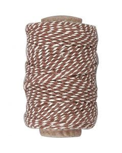 Cotton Cord, thickness 1,1 mm, brown/white, 50 m/ 1 roll