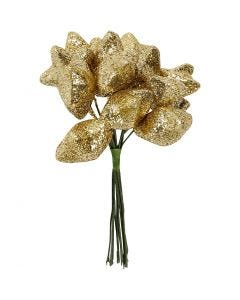 Star, D: 25 mm, gold, 12 pc/ 1 pack