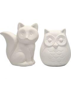 Animal Saving Banks, H: 9 cm, white, 2 pc/ 1 box