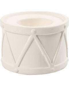 Candle Light Holder, H: 6,6 cm, D: 9,3 cm, hole size 2,2+4 cm, white, 2 pc/ 1 pack