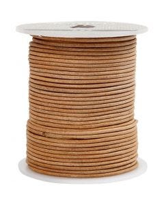 Leather Cord, thickness 2 mm, natural, 50 m/ 1 roll