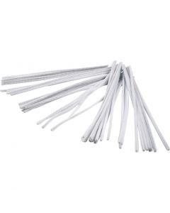 Pipe Cleaners, L: 30 cm, thickness 6 mm, white, 50 pc/ 1 pack