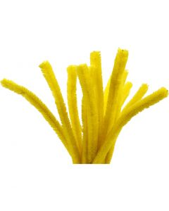 Pipe Cleaners, L: 30 cm, thickness 15 mm, yellow, 15 pc/ 1 pack