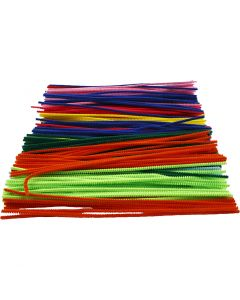 Pipe Cleaners, L: 30 cm, thickness 4 mm, assorted colours, 300 asstd./ 1 pack